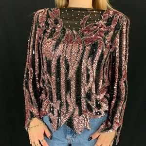 80s Sho Max Originals Sequin Blouse